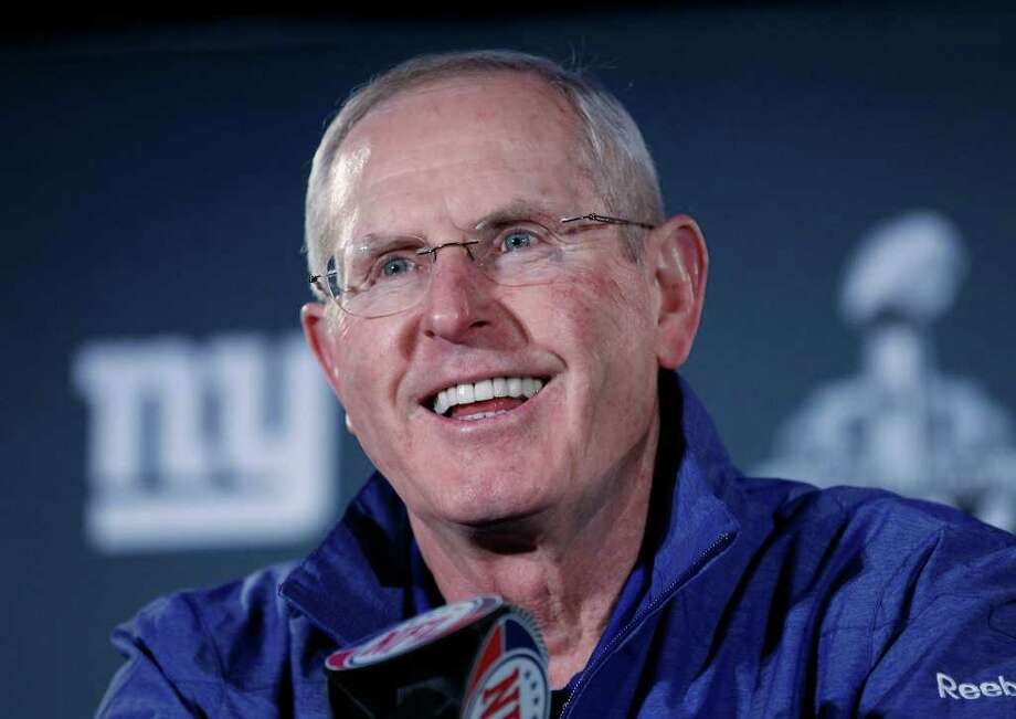New York Giants head coach Tom Coughlin answers questions during a media availability, Thursday, Feb. 2, 2012, in Indianapolis. The Giants will face the New England Patriots in the NFL football Super Bowl XLVI  on Feb. 5.(AP Photo/Eric Gay) Photo: Eric Gay