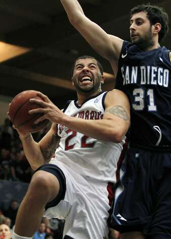 Saint Mary's Rob Jones (22) drives for the basket through San Diego's John Stinis during the first half of an NCAA college basketball game on Thursday, Feb. 2, 2012, in Moraga, Calif. (AP Photo/George Nikitin) Photo: George Nikitin, Associated Press