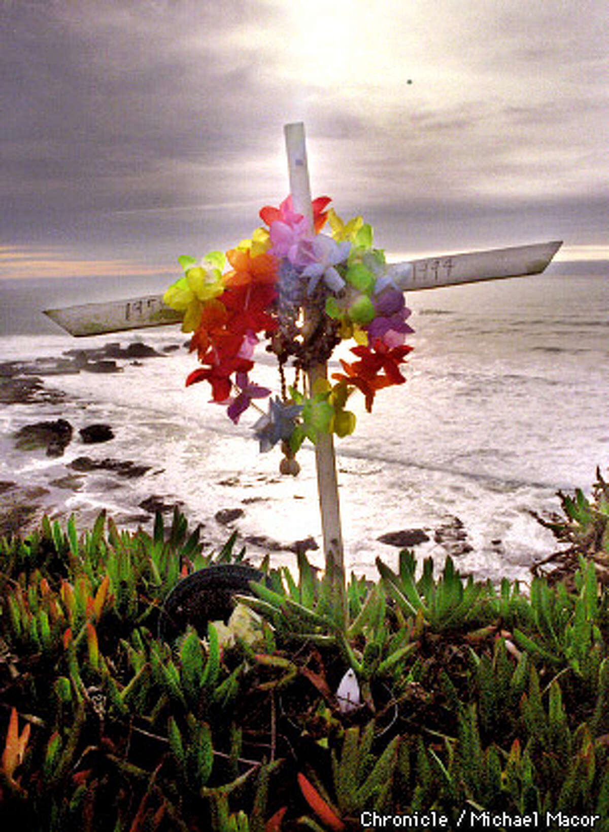 """Famous surfing location near Half Moon Bay. """"Mavericks"""" draws big wave riders from around the world. A memorial to famous big wave rider Mark Foo eho lost his life surfing Mavericks. A reminder of the power of the Maverick break. Chronicle Photo: Michael Macor"""