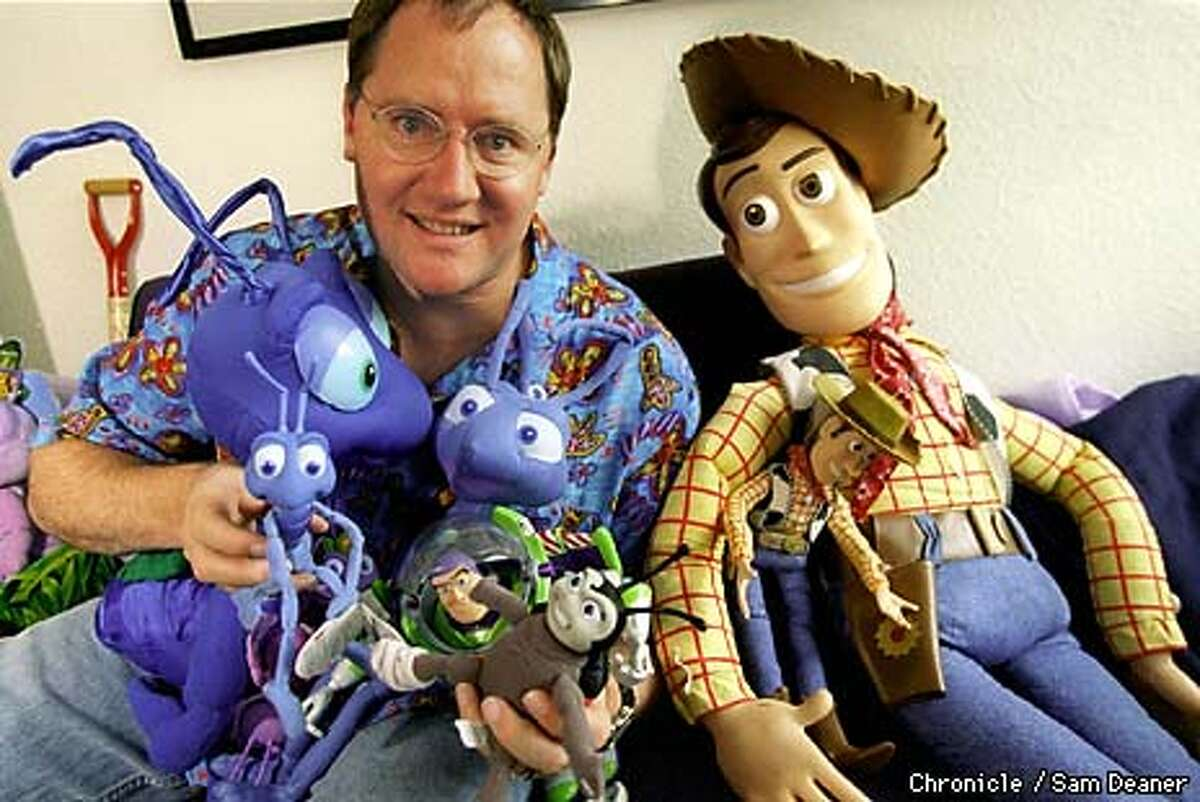 Animation Pioneer John Lasseter co-directed the new movie It's a Bug's Life and Toy Story and is scene in his office in Pixar Studios in Richmond. (CHRONICL EPHOTO / SAM DEANER)