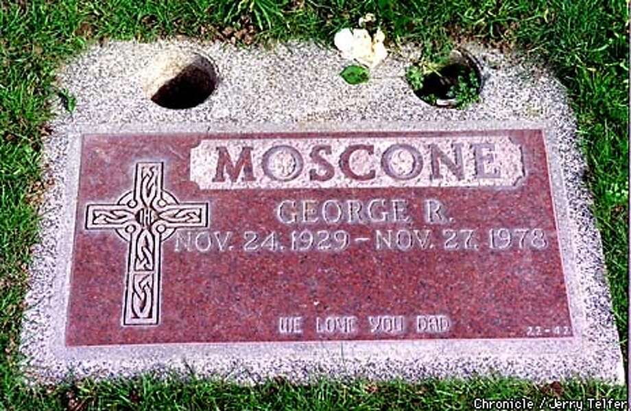 Gravestone of former SF Mayor George Moscone, assassinated in his office on 1978 by Dan White. Moscone is buried at Holy Cross Cemetery in Colma, CA.  BY JERRY TELFER/THE CHRONICLE Photo: JERRY TELFER