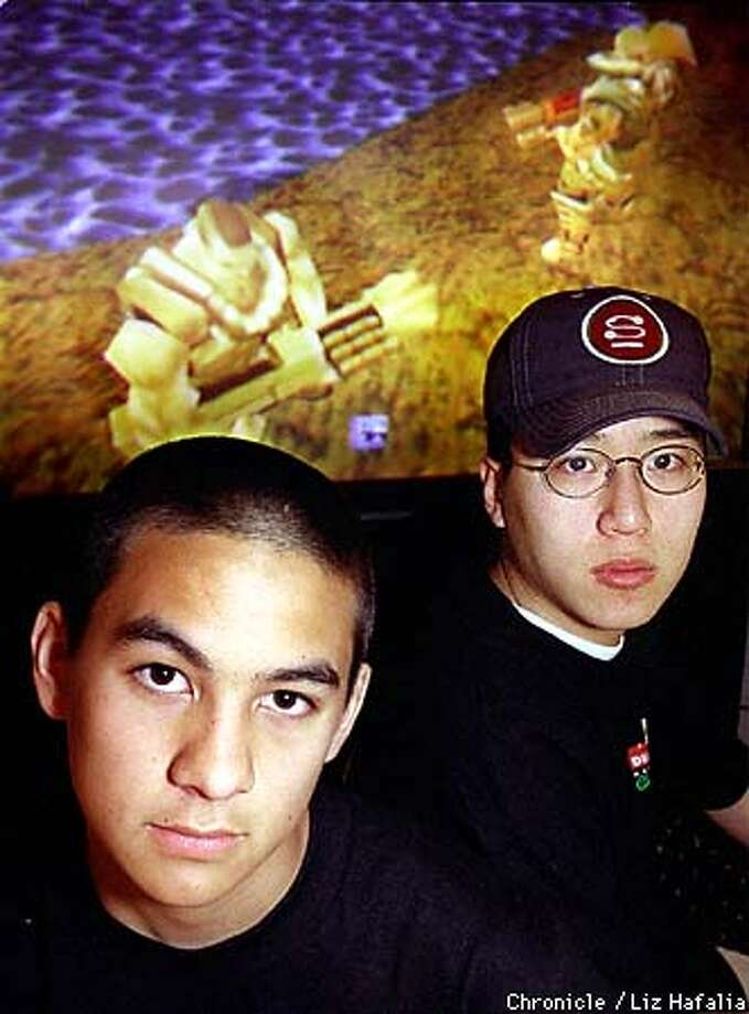 Immortal (aka Kurt Shimada, 15 years old) and Thresh (aka Dennis Fong, 21 years old) will be competing in a game of 'Quake 2' for a professional gamers league contest with a toal purse of $100,000 dollars. Photo by Liz Hafalia Photo: LIZ HAFALIA