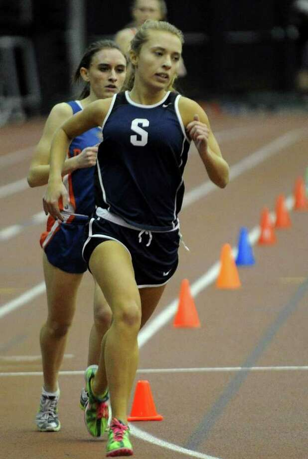 Staples' Georgia Kursten competes in the 1000 meter race at the FCIAC championships Thursday. The Lady Wreckers placed sixth at FCIACs. Photo: Christian Abraham, Christian Abraham/Staff Photographer / Connecticut Post