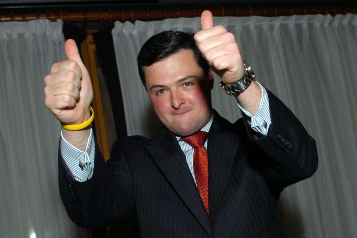 Republican Tim Herbst reacts to the crowd after speaking at his victory party at Marisa's Restaurant, in Trumbull, Conn. on Election Night, Nov. 3rd, 2009. Herbst won Trumbull's first selectman seat, defeating Democratic incumbant Ray Baldwin.
