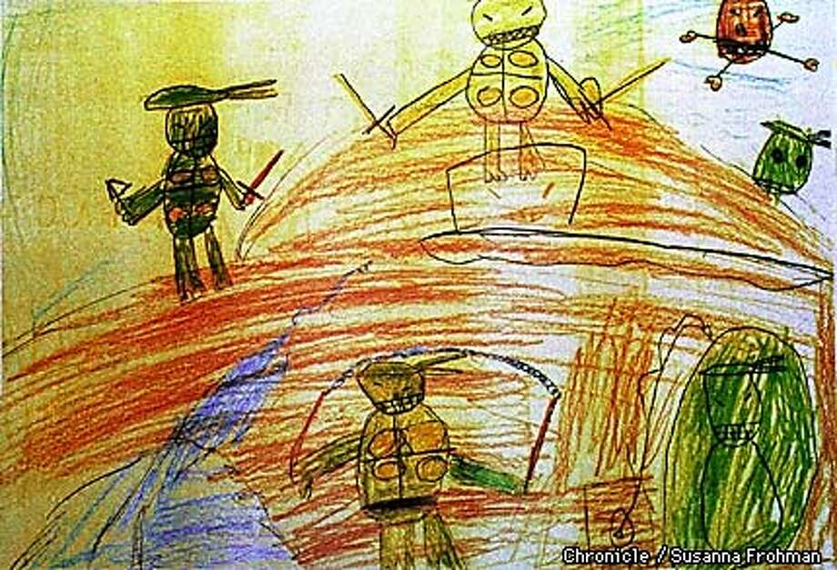 According to psychologists, children often draw aggressive figures as a way to work through their memories, as in this picture drawn by a former Yugoslavian youth. (CHRONICLE PHOTO BY SUSANNA FROHMAN) Photo: SUSANNA FROHMAN