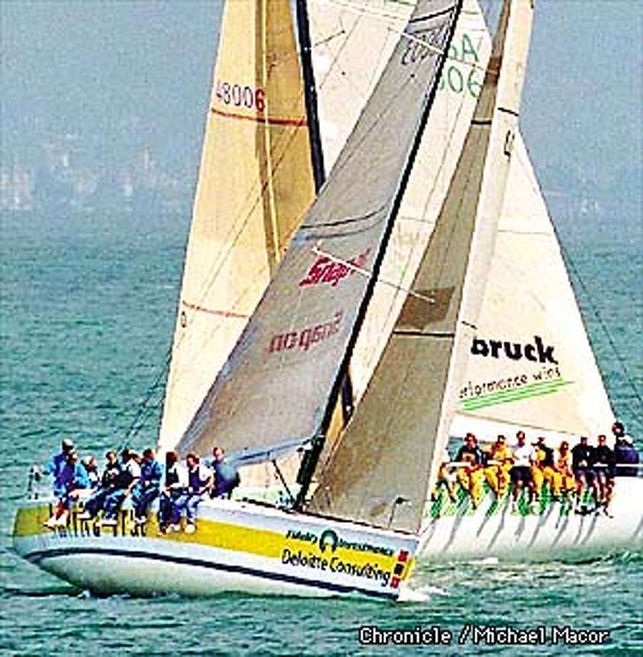 """Big Boats practice on SF Bay for upcoming race. """"AMERICA TRUE"""" of the America True Team, SF (boat in front) and """"PINTA"""" of America One Team, SF practicing thier manuvers on the Bay. By Michael Macor/The Chronicle Photo: MICHAEL MACOR"""