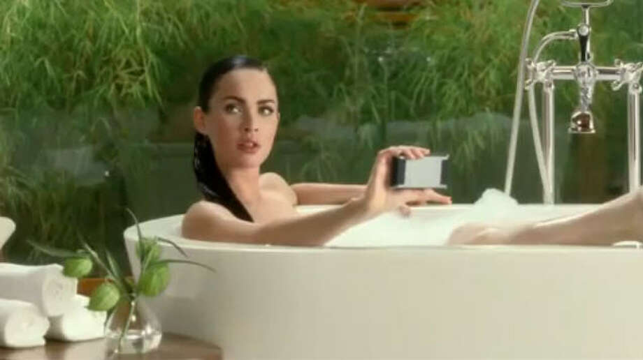 "Megan Fox:  The ""Transformers"" beauty hopped in the tub for a 2010 Motorola spot. Watch it here.  Photo: Motorola / Motorola"