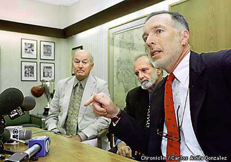 From left to right, Art Bishop, of Southern California, Michael Sheppard, of New Mexico, and Joseph Driscoll, of Monterey California, speak at a press conference announcing a lawsuit against CNN and Time Magazine, after the two media organizations misrepresented the mens' roles in operation Tailwind. The men, and others joining the lawsuit as plaintiffs, were falsely accused by CNN and Time of dropping nerve gas on deserters in Laos during the Vietnam War. (CHRONICLE PHOTO BY CARLOS AVILA GONZALEZ) Photo: CARLOS AVILA GONZALEZ