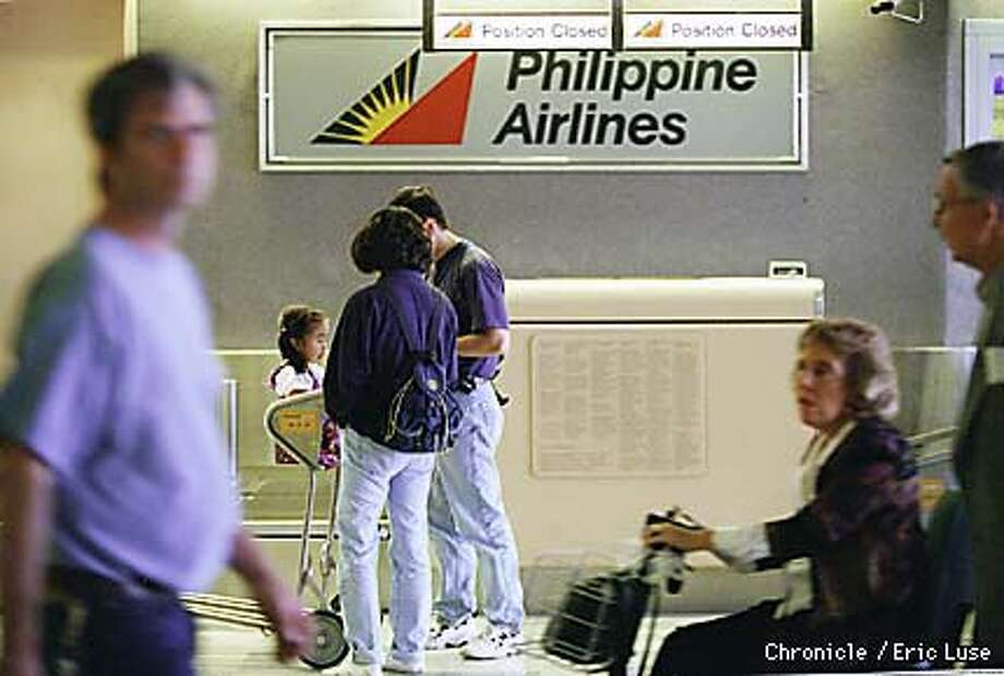 Philippine Airline counter at the San Francisco Airport is open five hours prior to departure of their one flight daily. Thursday's departure is at 11:45pm. The airline may shut down September 23.  BY ERIC LUSE/THE CHRONICLE Photo: ERIC LUSE