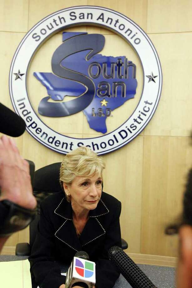 South San Antonio ISD school board president Connie Prado answers questions from the media last year. Photo: San Antonio Express-News, File Photo / SAN ANTONIO EXPRESS-NEWS NFS