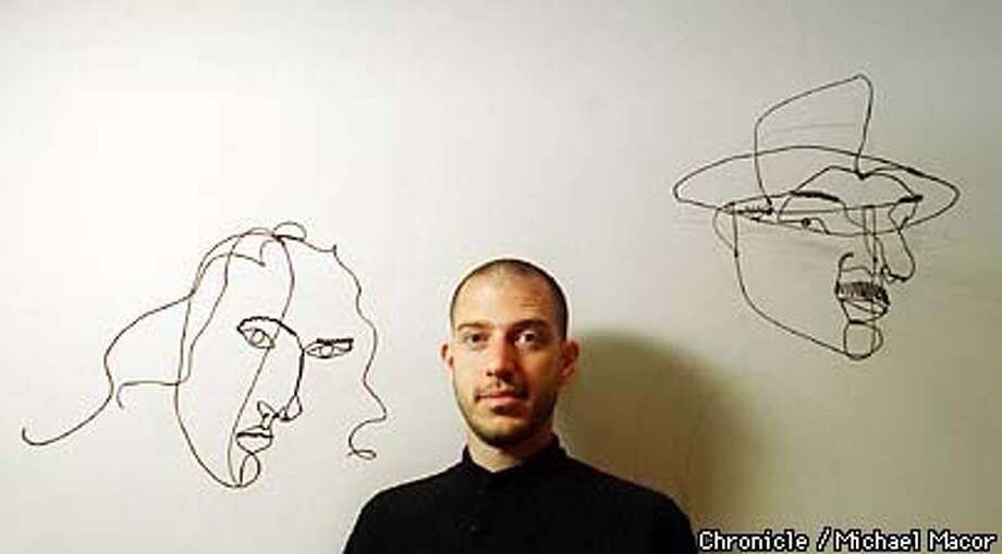 """Sandy Rower is the grandson of artist Alexander Calder. Rower with wire sculptures, left is a portrait of his granmother Louisa titled """"Medusa"""" , at right is """"Fernand Legar"""" both Ca. 1930. By Michael Macor/The Chronicle Photo: MICHAEL MACOR"""