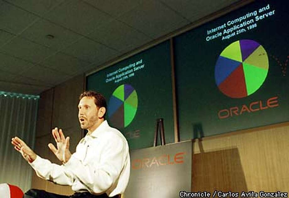 Larry Ellison, CEO of Oracle Corp., unveiled a strategy of internet based networking that he says is the key to unseating Microsoft's hold on the network server market. (CHRONICLE PHOTO BY CARLOS AVILA GONZALEZ) Photo: CARLOS AVILA GONZALEZ