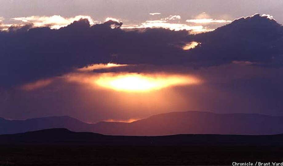 GOLD RUSH6/24AUG98/MN/BW--Sunset over the Black Rock Desert, the trail pioneers took beginning in 1849, after being mislead by Lassen and others who claimed it was a quick way to get to the gold fields. By Brant Ward/Chronicle