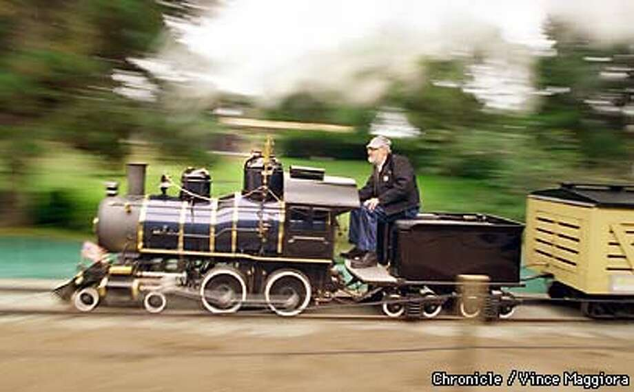 """= Don Micheletti driving the 100 year old steam locomotive """"Little Puffer"""" at the SF Zoo . by Vince Maggiora Photo: VINCE MAGGIORA"""