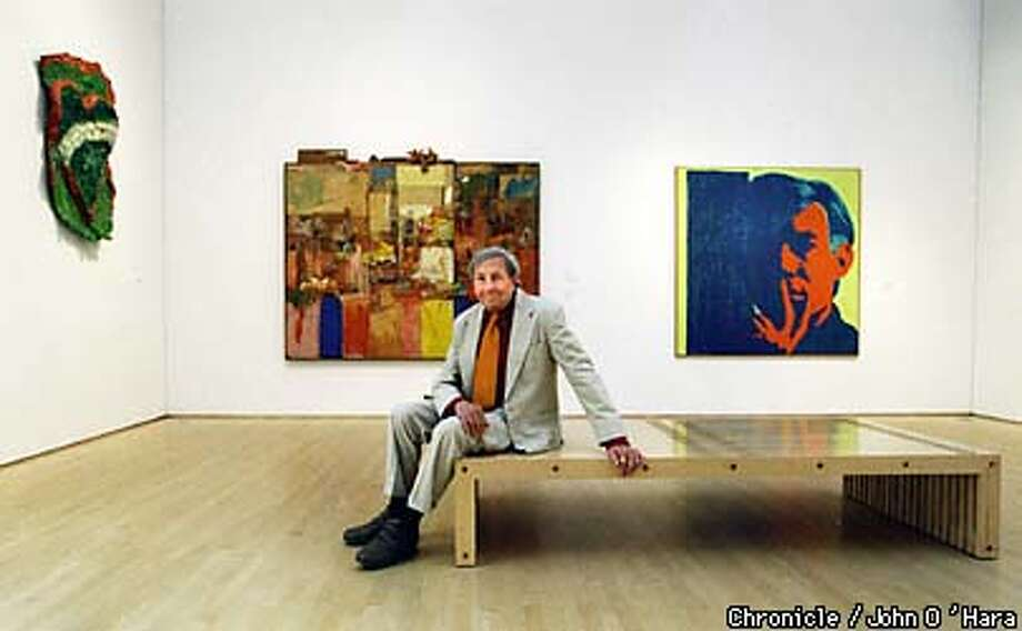 San Francisco Museum of Modern Art. Artist Robert Rauschenberg in front of Collection (formerly untitled 1953-54) Oil Paper , fabric and metal on wood.  BY JOHN O'HARA/THE CHRONICLE Photo: JOHN O'HARA