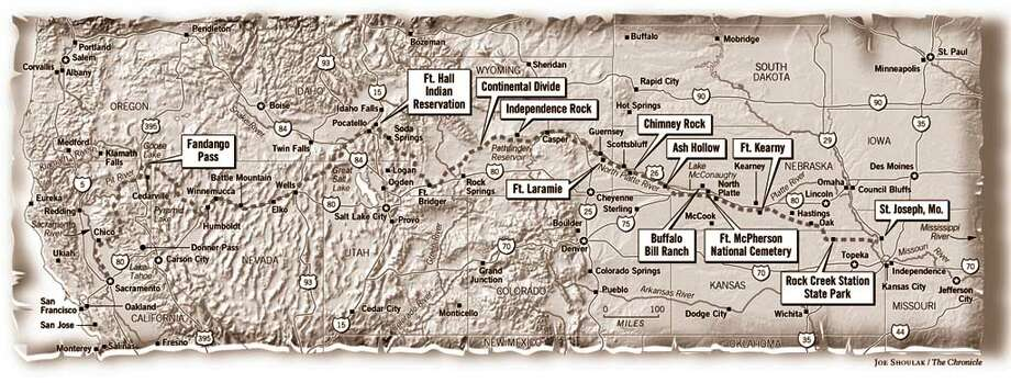 Pony Express Across the West. Chronicle graphic by Joe Shoulak