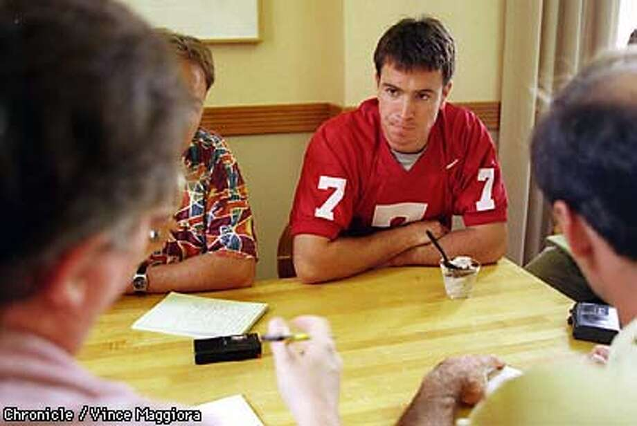 = Tod Husak Stanford football QB talking with the media at Manzanita Dining Hall Stanford. by Vince Maggiora Photo: VINCE MAGGIORA