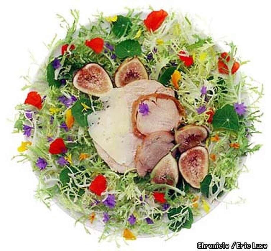 Turkey salad with flower petals and figs.  BY ERIC LUSE/THE CHRONICLE Photo: ERIC LUSE