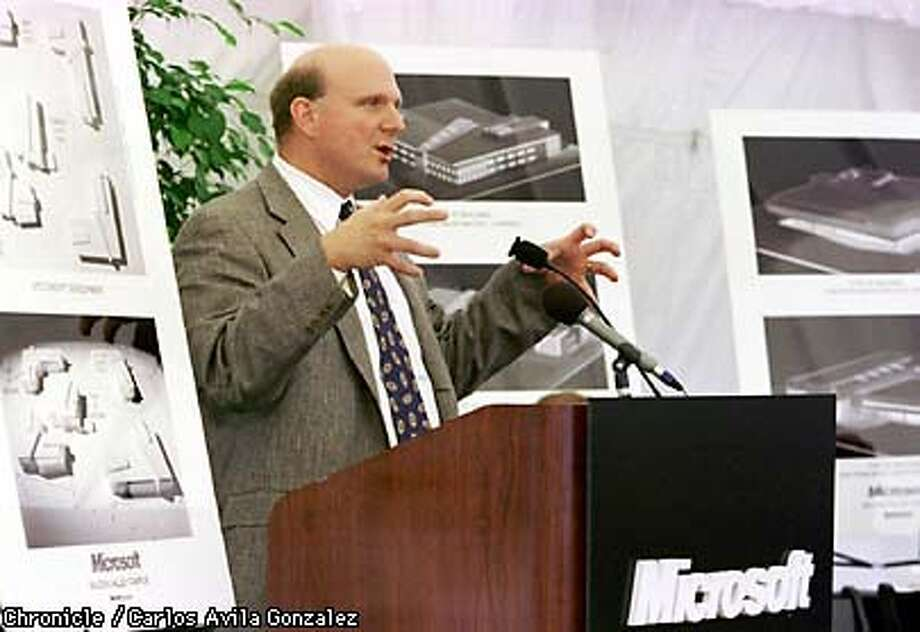Steve Ballmer, president of Microsoft Corporation, announced the proposed Microsoft campus in Mountain View on Thursday, August 6, 1998. The new complex will be 515,000 square feet. (CHRONICLE PHOTO BY CARLOS AVILA GONZALEZ) Photo: CARLOS AVILA GONZALEZ