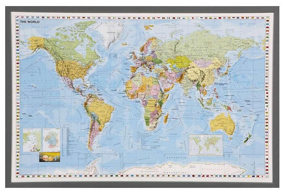 Map - hotstuff Framed world map from CrateandBarrel Photo: CrateandBarrel