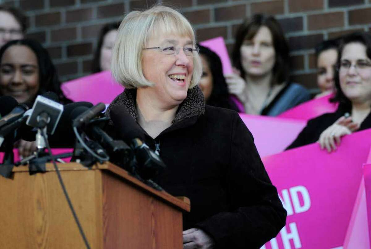 Senator Patty Murray smiles as she speaks during a press conference at Planned Parenthood. Dozens of supporters of the organization gathered with Murray after the Susan G. Komen for the Cure foundation reversed a decision to suspend funding to Planned Parenthood.