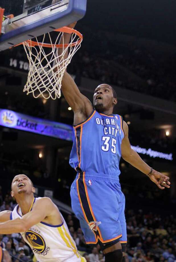 Thunder stars Kevin Durant (above) and Russell Westbrook are the top scoring duo in the NBA. Photo: AP