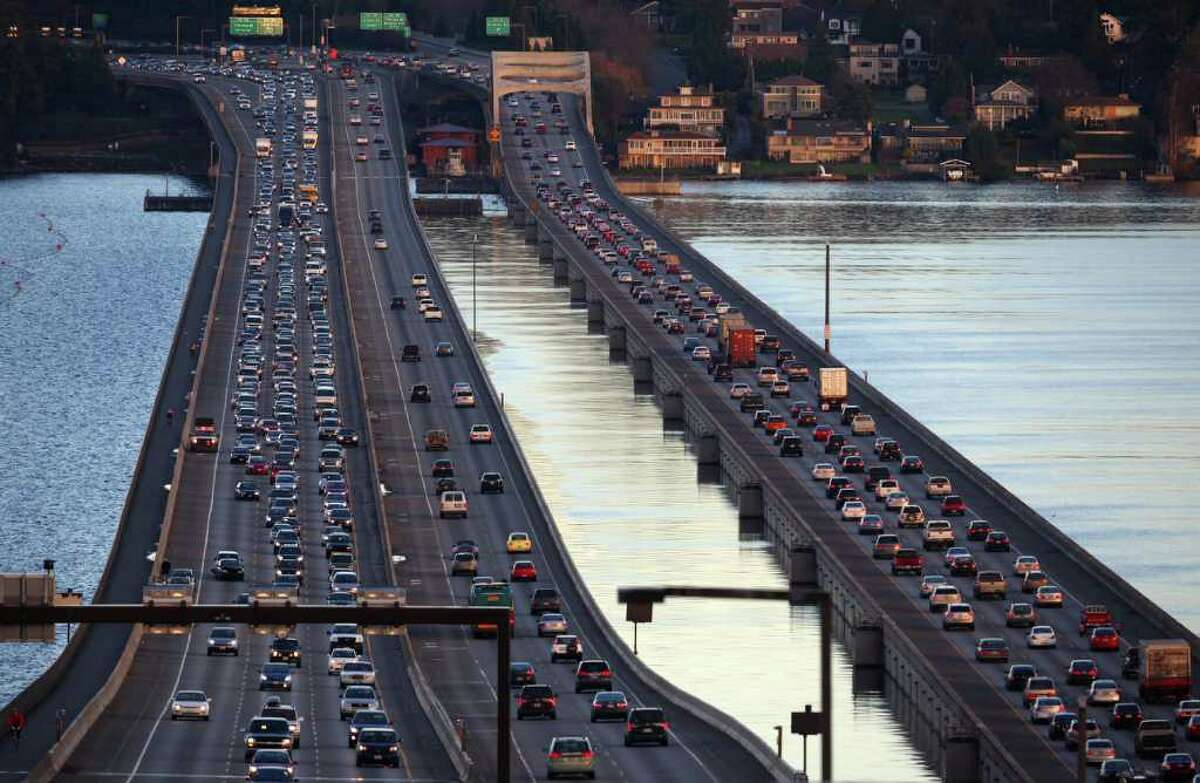 The Interstate 90 floating bridge is shown on Thursday, February 2, 2012 as it carries rush-hour traffic over Lake Washington.