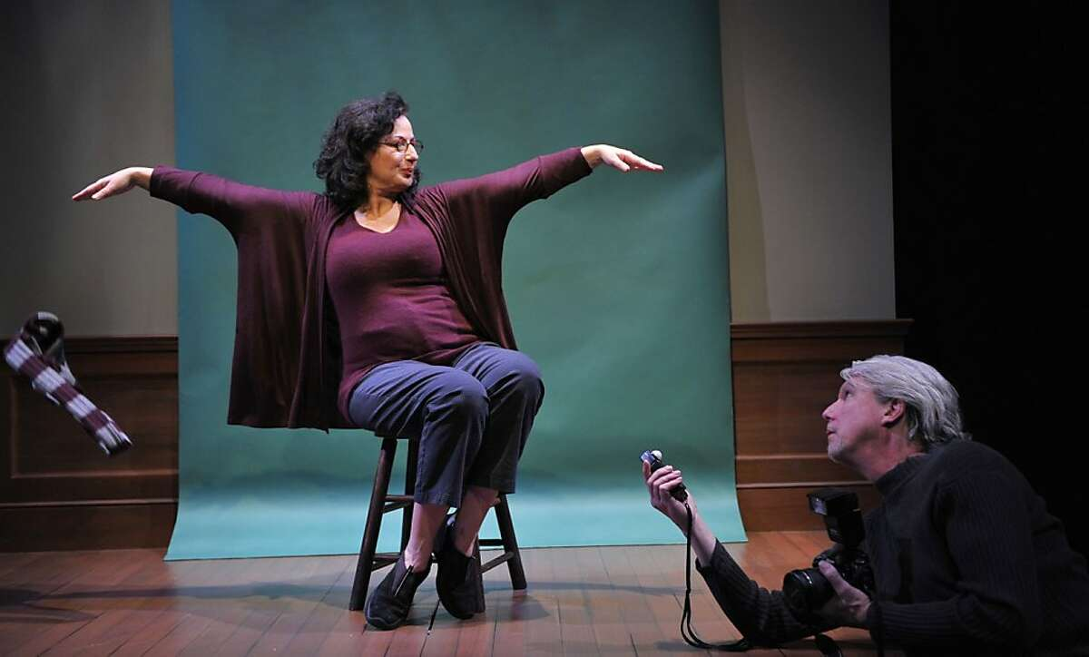 """Joyce (Jeri Lynn Cohen) prepares for her photo session with visiting artist Frank (Howard Swain) in Aurora Theatre's staging of Annie Baker's """"Body Awareness"""""""