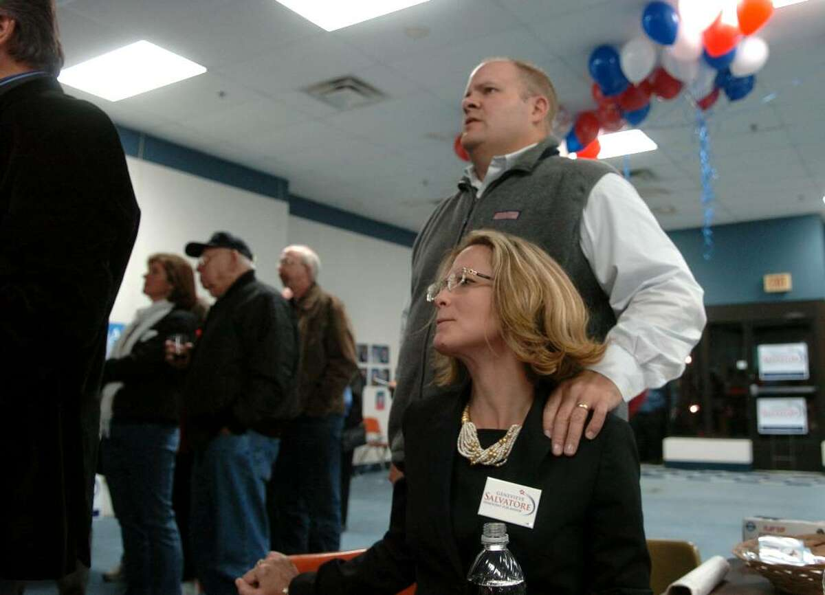 Democratic mayoral candidate Genevieve Salvatore and her husband Stephen anxiously watch returns on election night at Democratic HQ on Bridgeport Avenue in Milford, Conn. on Tuesday Nov. 4, 2009.