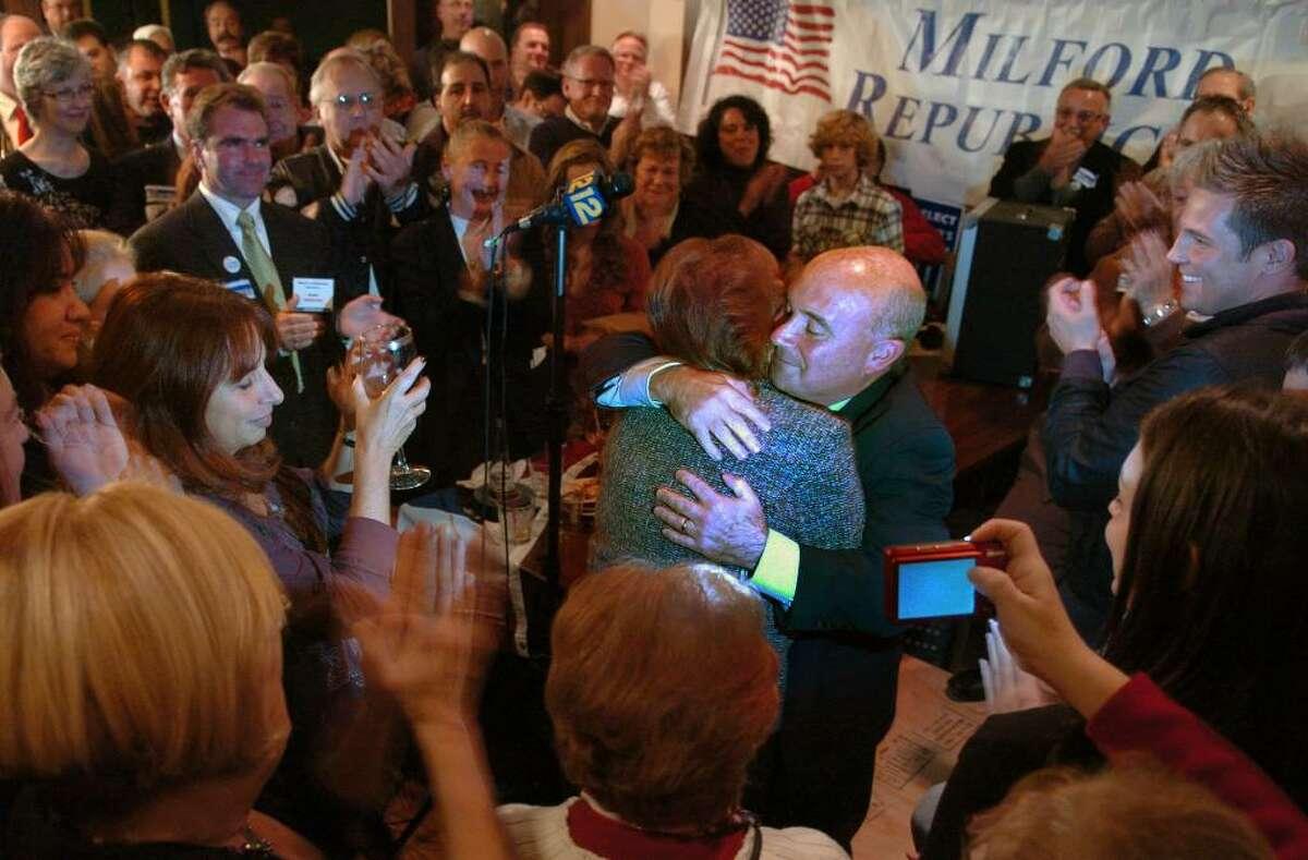 Milford mayor James Richetelli hugs his wife Lisa, during his victory speech at the Stonebridge Restaurant on Daniels Street in Milford, Conn. on Tuesday Nov. 4, 2009.