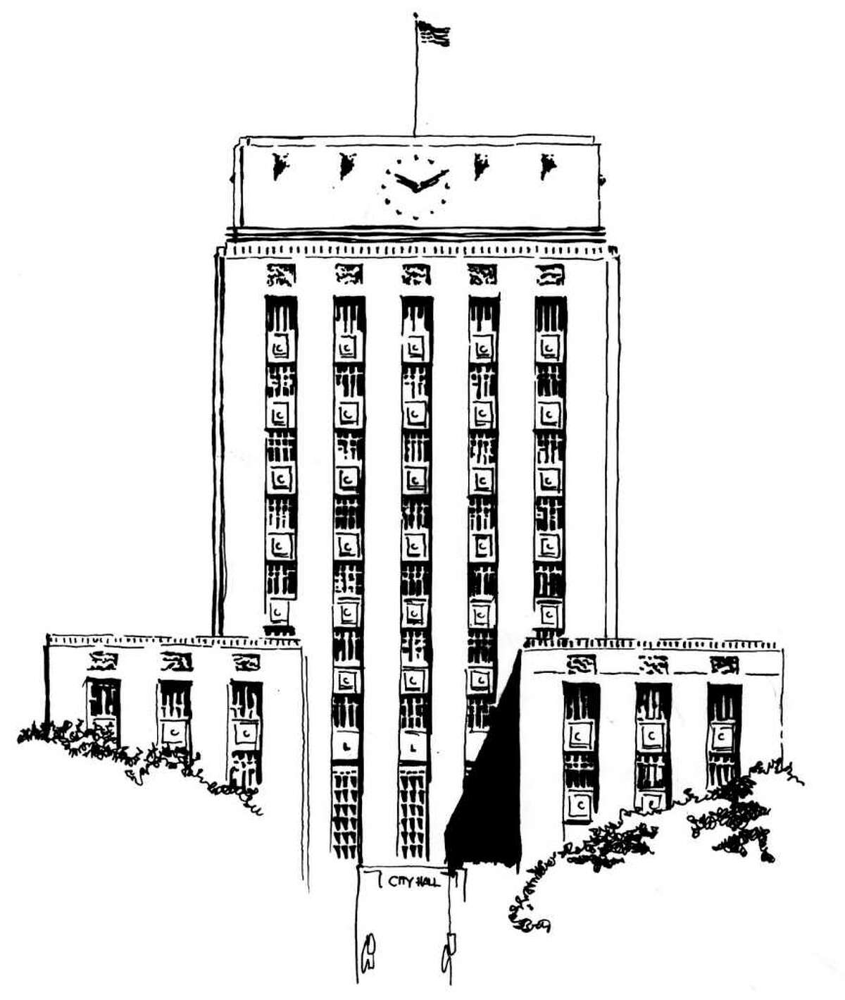 """Line drawing of Houston City Hall for """"Campaign Watch"""""""