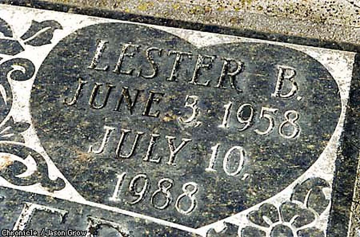 The Holy Cross Cemetery headstone of slain San Francisco cop Lester Garnier, who was found shot dead in his 1984 Corvette ten years ago. His death is the only unsolved murder of a SF cop in recent history. JASON GROW/FOR THE SAN FRANISCO CHRONICLE