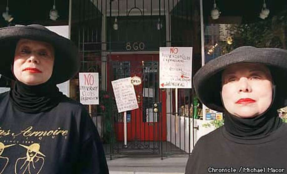 """Twins Rozzalynd, (left) and Josephine Weibe in front of theie store """"Twins Armoire Boutique"""" on California St. The two are fighting next door neighbors """"University Club"""" from expanding their facility. Chronicle Photo: Michael Macor Photo: MICHAEL MACOR"""