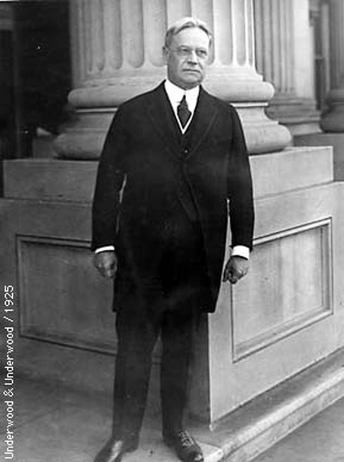 Republican Governor Hiram Johnson introduced the initiative process to break the Southern Pacific railroad's stranglehold on the Legislature. Photo by Underwood & Underwood, 1925