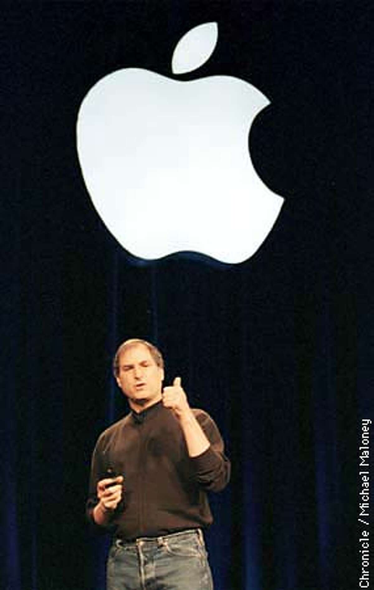 Apple interim CEO Steve Jobs gave a 2 hour speech discussing the company's software plans at the worldwide developers conference at the San Jose Convention Center. Photo by Michael Maloney