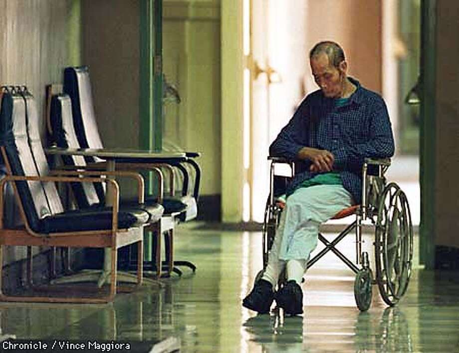Laguna Honda Hospital in San Francisco. A patient sits in a hallway of the hospital. By Vince Maggiora/The Chronicle Photo: VINCE MAGGIORA