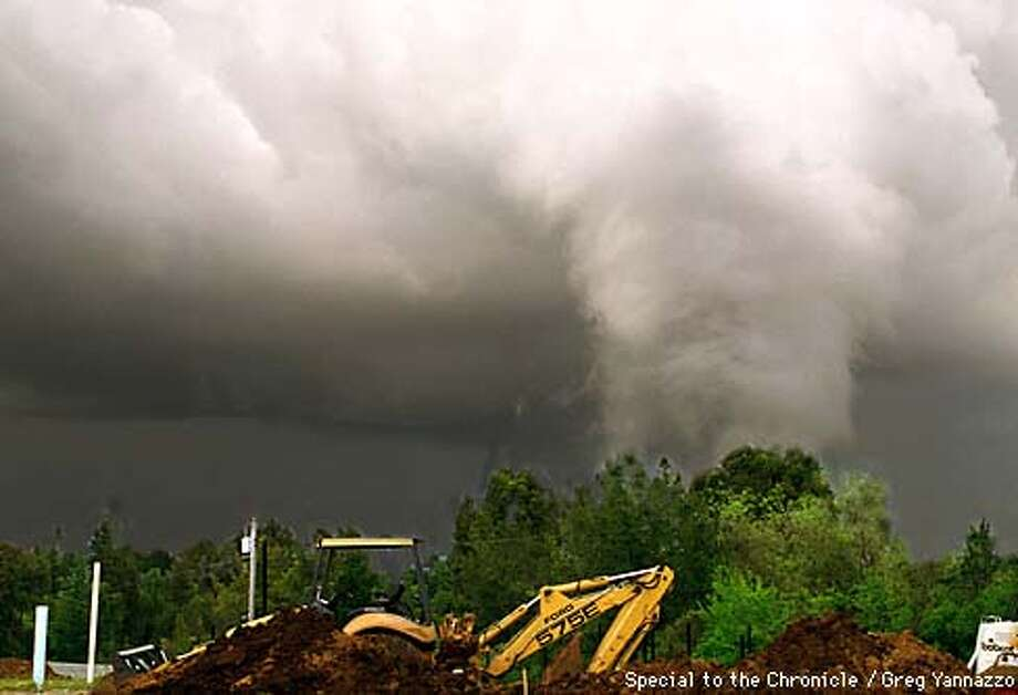A tornado touched down in Sunnyvale, CA. Greg Yannazzo a swimming pool contractor caught this photo.  Freelance photo....Greg Yannazzo Photo: Greg Yannazzo