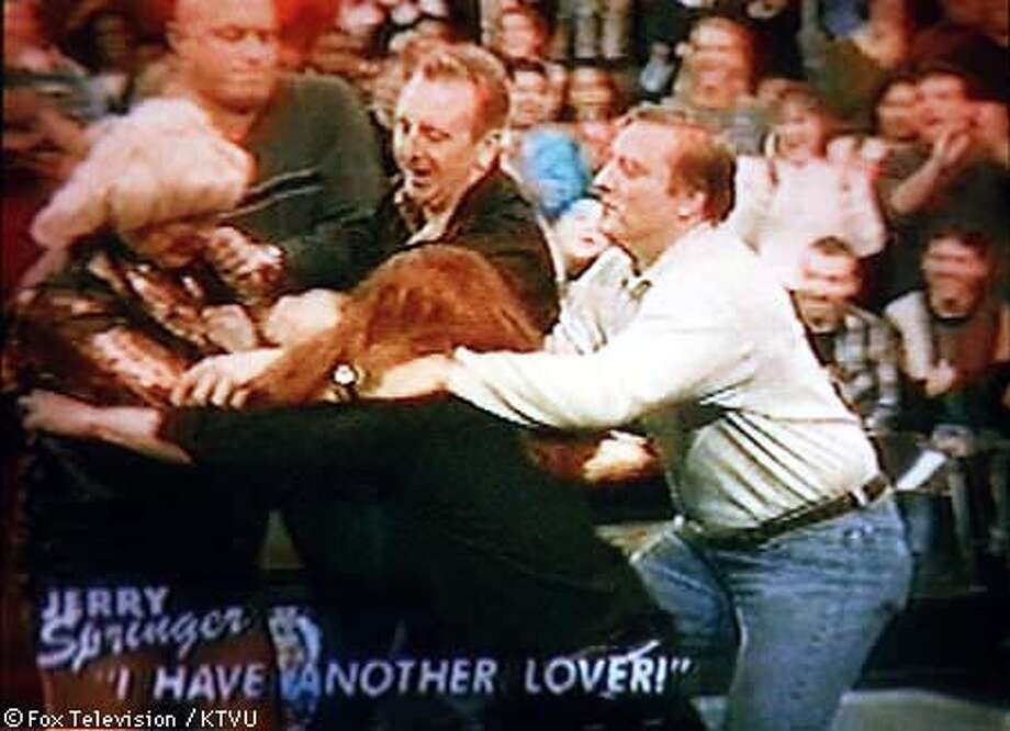This image showing a fight on the Jerry Springer Show was taken from television. CHRONICLE PHOTO Photo: KTVU