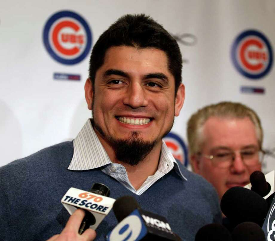 Chicago Cubs pitcher Matt Garza speaks to reporters during the 27th annual Chicago Cubs baseball convention in Chicago on Friday, Jan. 13, 2012. (AP Photo/Nam Y. Huh) Photo: Nam Y. Huh / AP