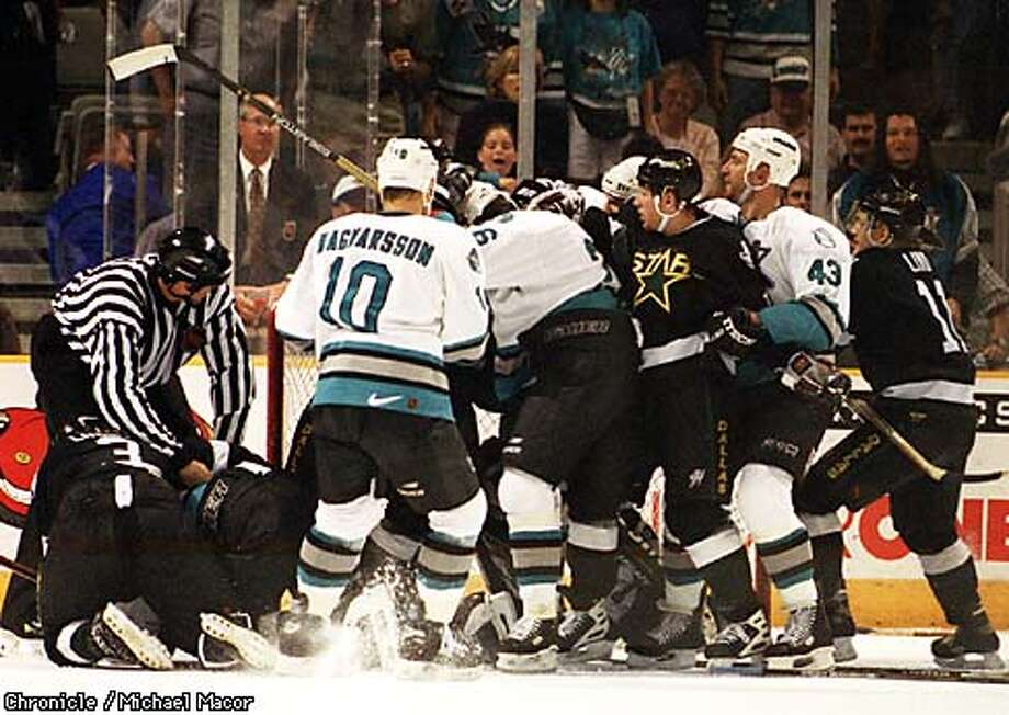 Sharks vs. Dallas Stars Game 3 Stanley Cup playoffs. Major fight breaks out in the final minutes in which Star 's goalie Ed Balfour was thrown out of the game. By Michael Macor/The Chronicle Photo: MICHAEL MACOR