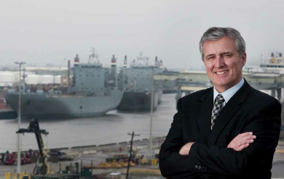 "Leonard Waterworth, the interim leader of the Port of Houston Authority, has experience in the private and public sector. ""We're the largest container facility on the Gulf Coast, a gateway to Middle America,"" he says of his  new job. Photo: Patric Scheider / Houston Chronicle"