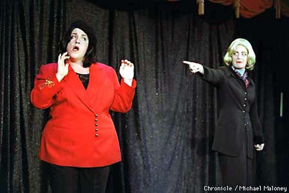 Chris Thompson (right) as Hillary Clinton points an accusing finger at Ceci Stephens as Monica Lewinsky in a scene from Gross National Comedy. BY MICHAEL MALONEY/THE CHRONICLE Photo: MICHAEL MALONEY