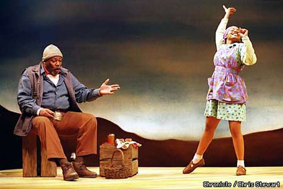 """Paul Butler as Abraam """"Buks"""" Jonkers, an old Coloured tenant farmer in South Africa and Anika Noni Rose as Veronica Jonkers, his granddaughter in the play, Valley Song. Valley Song is being presented by the Berkeley Repertory Theater at the Lorraine Hansberry Theatre, 620 Sutter Street, SF. SAN FRANCISCO CHRONICLE PHOTO BY CHRIS STEWART Photo: CHRIS STEWART"""