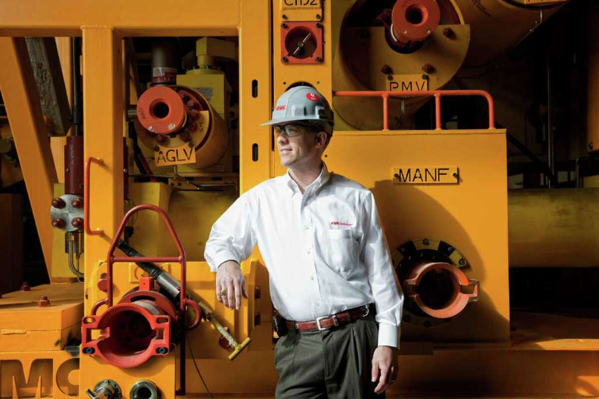 FMC Technologies project manager Eric Jordan, shown at the FMC facility on Gears Road in north Houston, said he read up on the oil industry before his interview with the company.