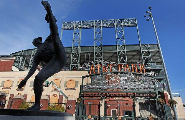 Statues of Giants greats such as pitcher Juan Marichal ring the San Francisco waterfront ballpark. Photo: Lance Iversen, The Chronicle