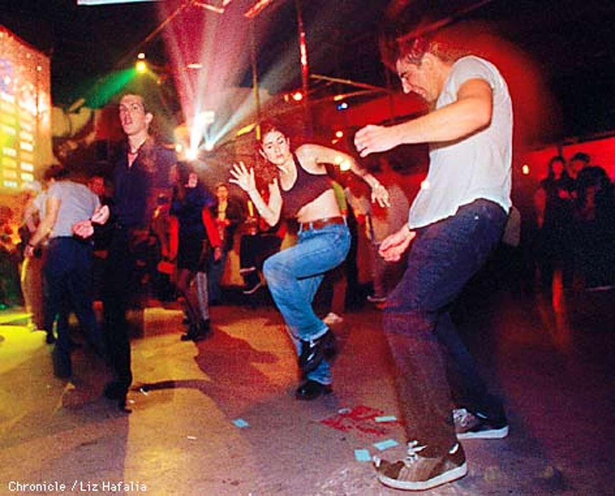 (in jeans) Miquela Diaz Hope and (right) Andy Diaz Hope dancing at the Justice League. Photo by Liz Hafalia