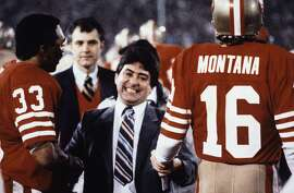 San Francisco 49ers Eddie Debartolo Jr. congratulates quarterback #16 Joe Montana and running back #33 Roger Craig after the 49ers defeated the Miami Dolphins to win super bowl in 1985.