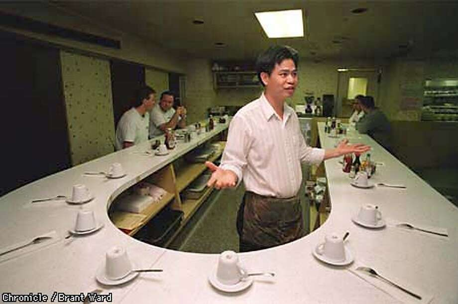 TERMINAL/26MAR98/CD/WARD--Steve Wong, owner of the Lee Wah restaurant in the Trans Bay Terminal, must close on March 31st along with all the other stores in the terminal while the rebuilding goes on. By Brant Ward/Chronicle