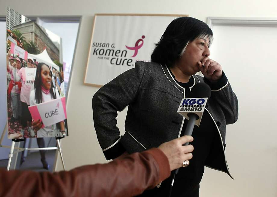 Maria Sousa, Komen San Francisco Bay Area Affiliate Executive, pauses while meeting with members of the media Friday, February 3, 2012, in the organization's offices in downtown San Francisco, to discuss the recent uproar over the Planned Parenthood grant. Photo: Judy Walgren, The Chronicle