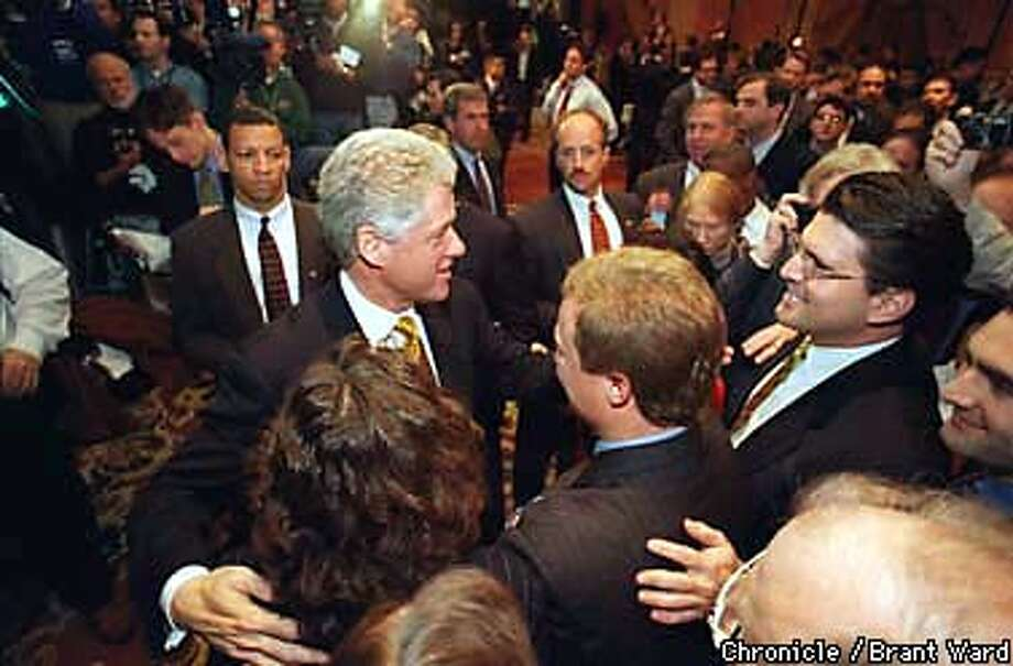 CLINTON 2/C/26FEB98/BU/BW--President Clinton at the Bank of America/Robertson Stephens technology conference at the Ritz-Carlton Hotel. CHRONICLE PHOTO BY BRANT WARD